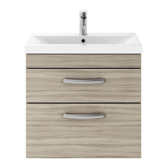 Nuie Athena 600mm 2 Drawer Wall Hung Cabinet & Minimalist Basin - Driftwood