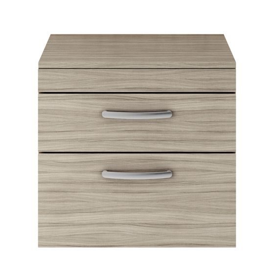 Nuie Athena 600mm 2 Drawer Wall Hung Cabinet & Worktop - Driftwood