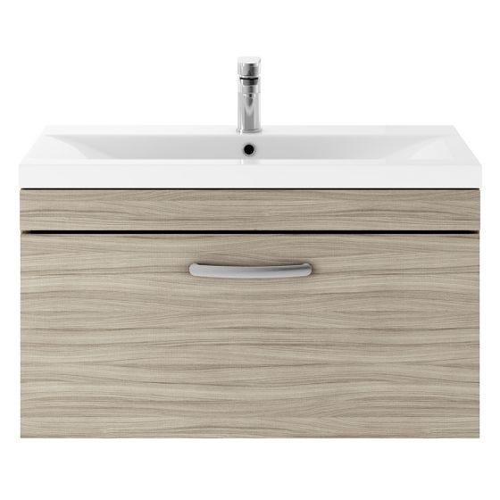 Nuie Athena 800mm Wall Hung Cabinet & Minimalist Basin - Driftwood
