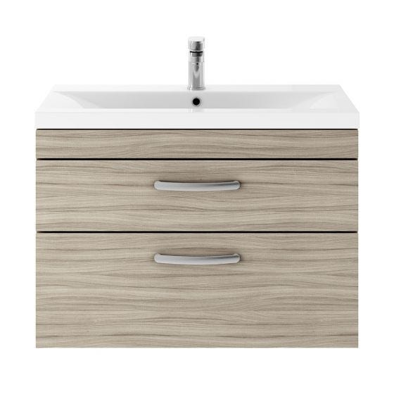 Nuie Athena 800mm 2 Drawer Wall Hung Cabinet & Mid-Edge Basin - Driftwood