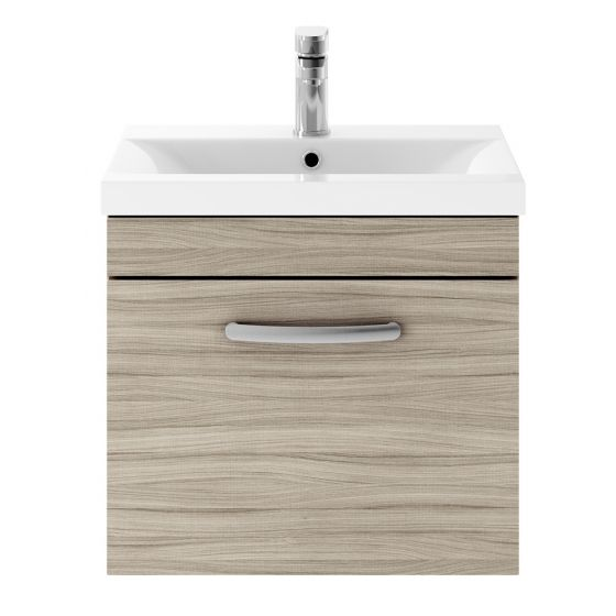 Nuie Athena 500mm Wall Hung Cabinet & Mid-Edge Basin - Driftwood