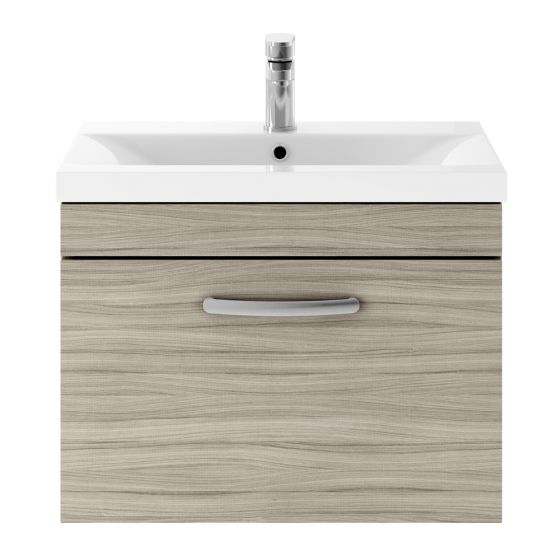 Nuie Athena 600mm Wall Hung Cabinet & Mid-Edge Basin - Driftwood