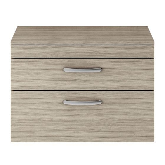 Nuie Athena 800mm 2 Drawer Wall Hung Cabinet & Worktop - Driftwood