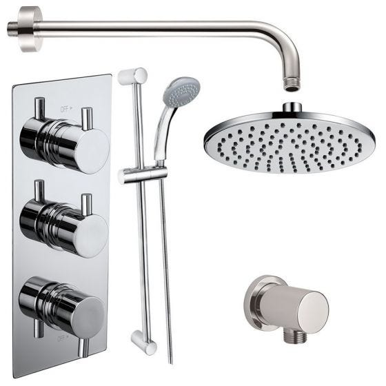 Electra Triple Round Concealed Thermostatic Shower Valve with Outlet Elbow, Sliding Rail Kit, Wall Arm and Fixed Head