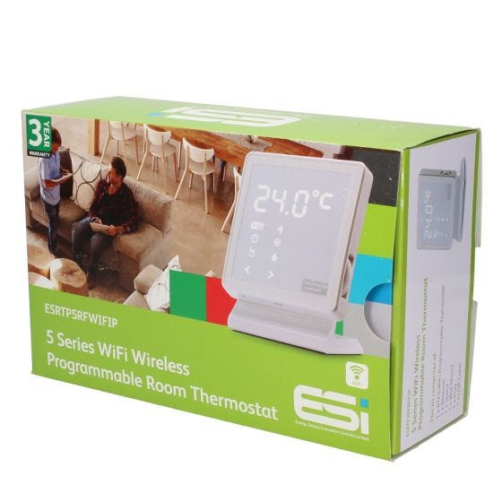 ESi ESRTP5RF 7 Day Wireless Programmable Room Thermostat with Stand