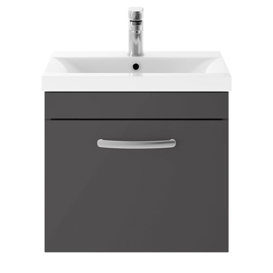 Nuie Athena 500mm Wall Hung Cabinet & Minimalist Basin - Gloss Grey