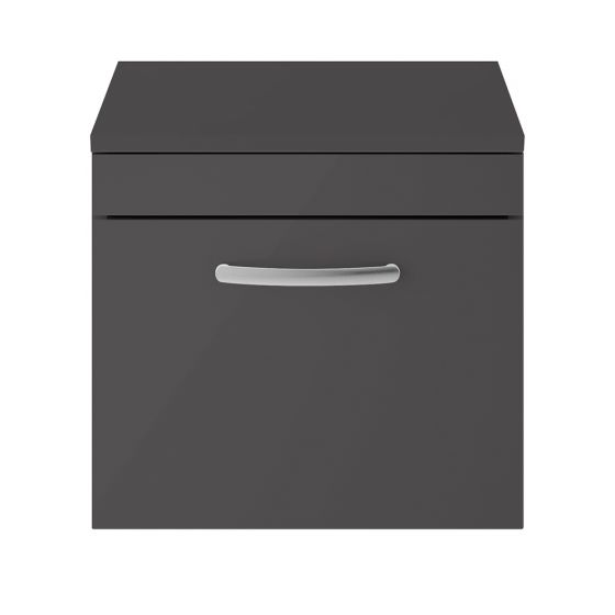 Nuie Athena 500mm Wall Hung Cabinet And Worktop - Gloss Grey