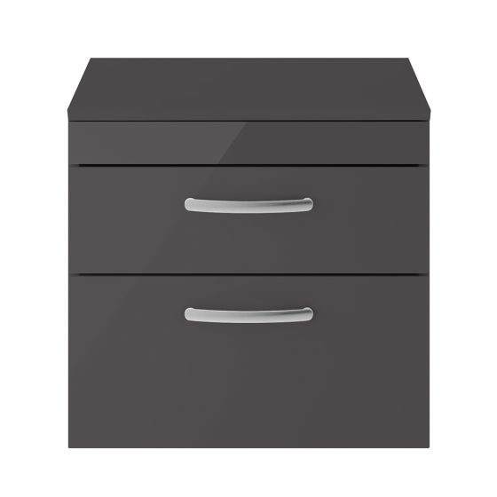 Nuie Athena 600mm 2 Drawer Wall Hung Cabinet & Worktop - Gloss Grey