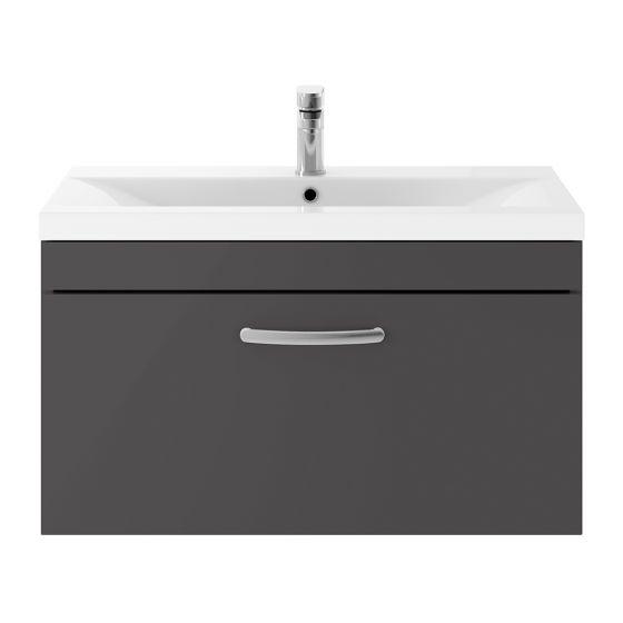 Nuie Athena 800mm Wall Hung Cabinet & Minimalist Basin - Gloss Grey