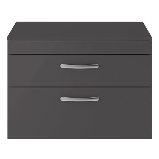 Nuie Athena 800mm 2 Drawer Wall Hung Cabinet & Worktop - Gloss Grey