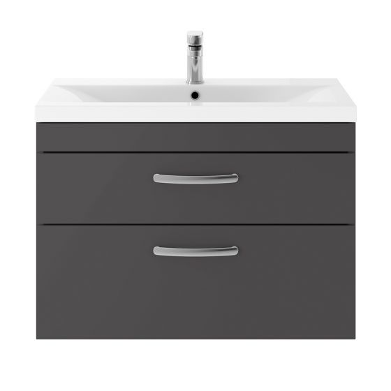 Nuie Athena 800mm 2 Drawer Wall Hung Cabinet & Minimalist Basin - Gloss Grey