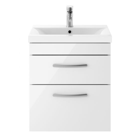 Nuie Athena 500mm 2 Drawer Wall Hung Cabinet & Mid-Edge Basin - Gloss White