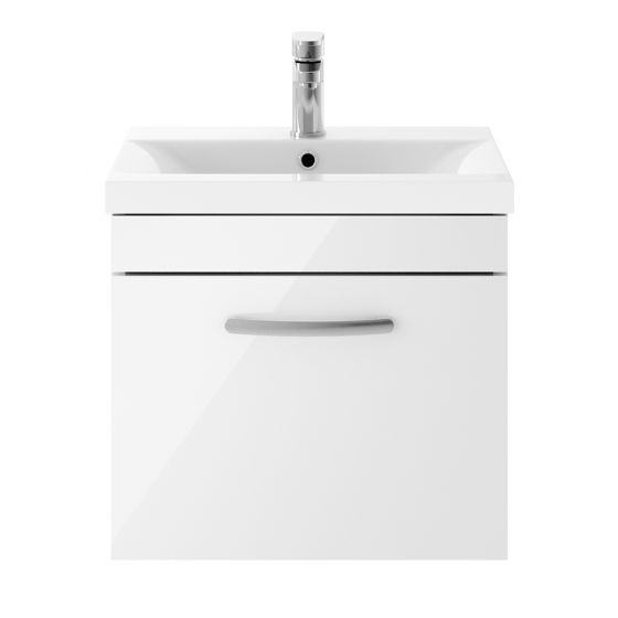 Nuie Athena 500mm Wall Hung Cabinet & Mid-Edge Basin - White Gloss