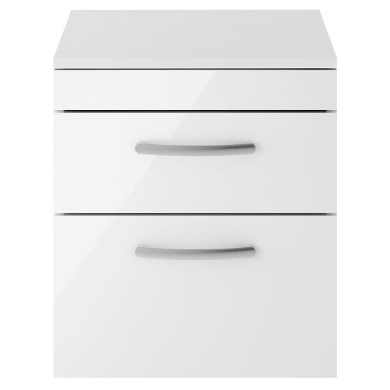 Nuie Athena 500mm 2 Drawer Wall Hung Cabinet & Worktop - Gloss White