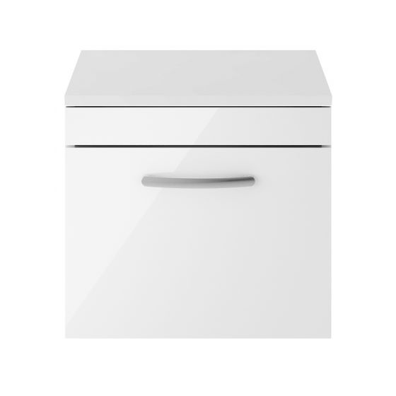 Nuie Athena 500mm Wall Hung Cabinet And Worktop - White Gloss