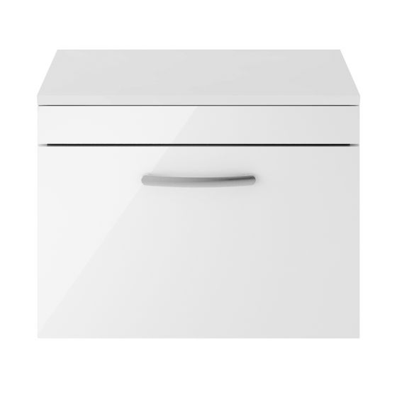 Nuie Athena 600mm Wall Hung Cabinet And Worktop - Gloss White
