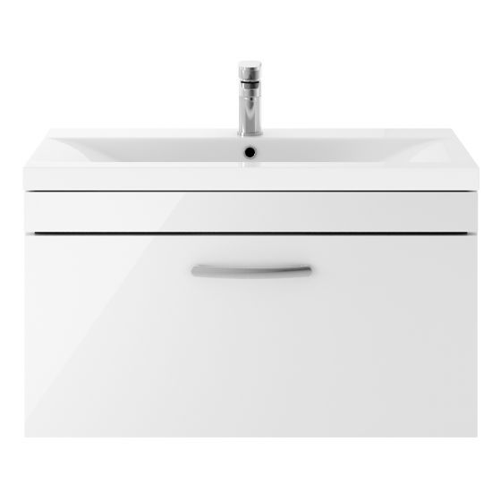 Nuie Athena 800mm Wall Hung Cabinet & Mid-Edge Basin - Gloss White