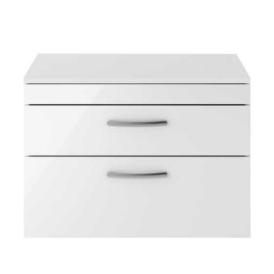 Nuie Athena 800mm 2 Drawer Wall Hung Cabinet & Worktop - Gloss White