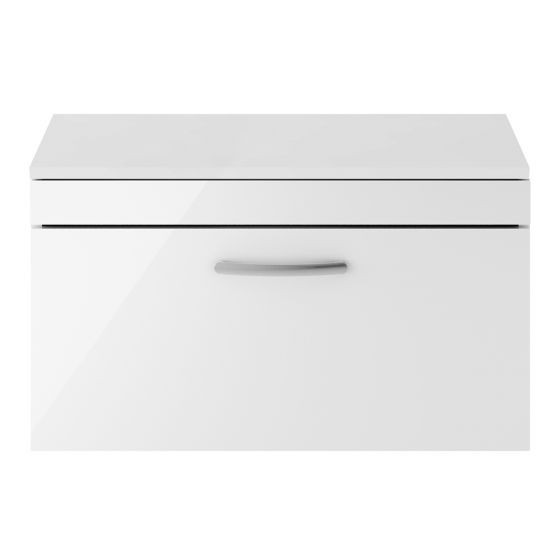 Nuie Athena 800mm Wall Hung Cabinet And Worktop - Gloss White
