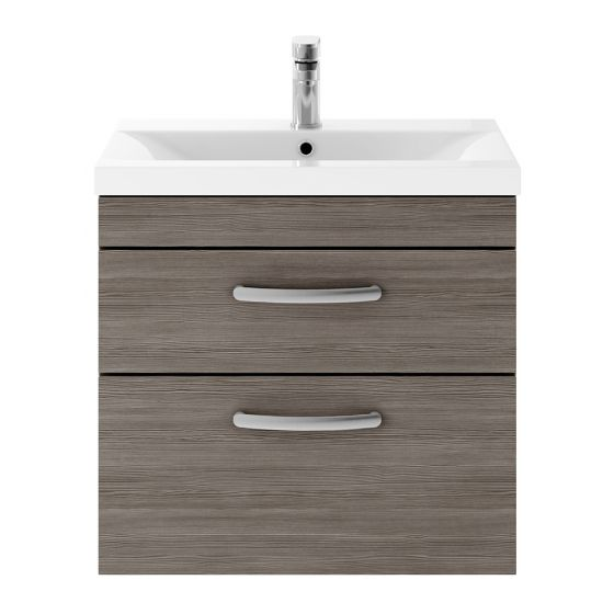 Nuie Athena 600mm 2 Drawer Wall Hung Cabinet & Minimalist Basin - Brown Grey Avola