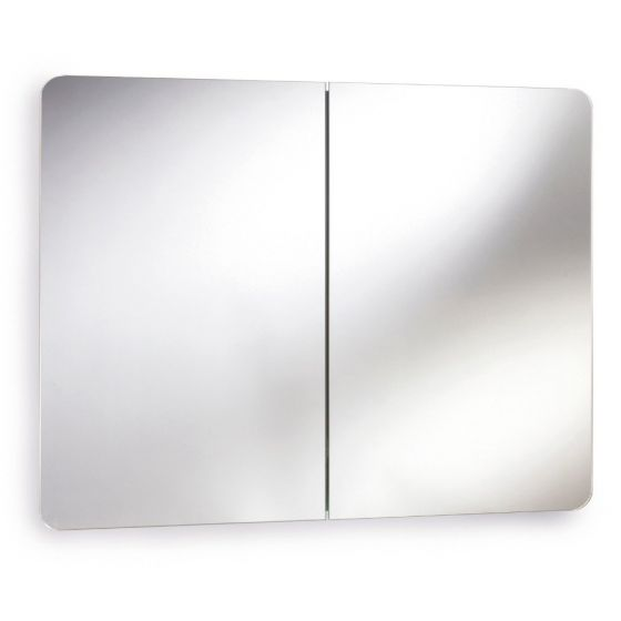 Mimic Stainless Steel Double Mirrored Cabinet with Hinged Doors 500mm x 800mm