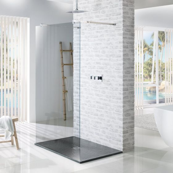 MX Minerals Ash Grey Rectangular Slate Effect Slim Shower Tray 1200mm x 800mm