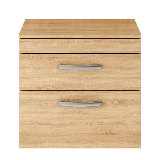 Nuie Athena 600mm 2 Drawer Wall Hung Cabinet & Worktop - Natural Oak