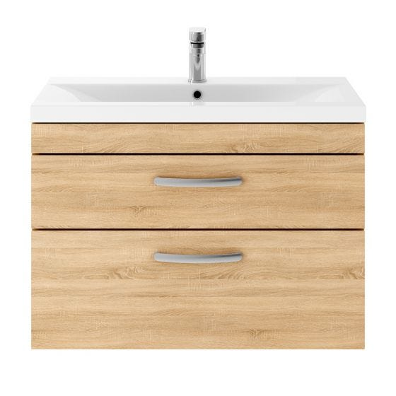 Nuie Athena 800mm 2 Drawer Wall Hung Cabinet & Minimalist Basin - Natural Oak