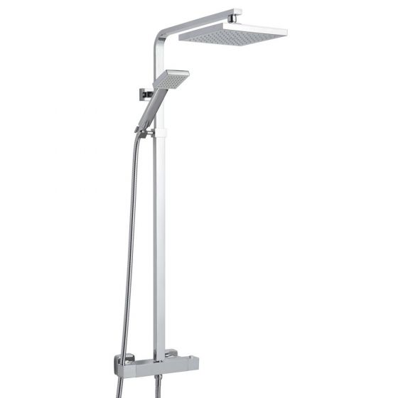 Nuie JTY386 Square Thermostatic Bar Shower with Square Fixed Head and Rigid Riser Rail