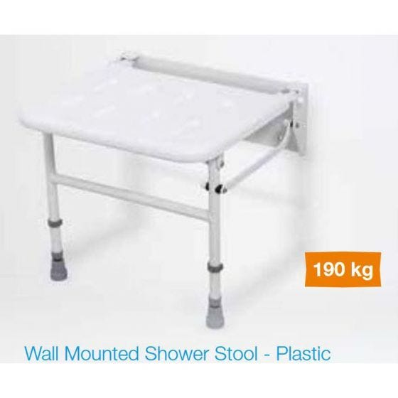 White Plastic Wall Mounted Shower Seat with Legs - Up to 190kg