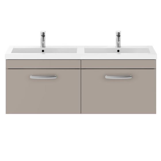 Nuie Athena 1200mm 2 Drawer Wall Hung Cabinet & Basin - Stone Grey