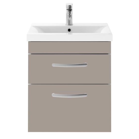 Nuie Athena 500mm 2 Drawer Wall Hung Cabinet & Minimalist Basin - Stone Grey