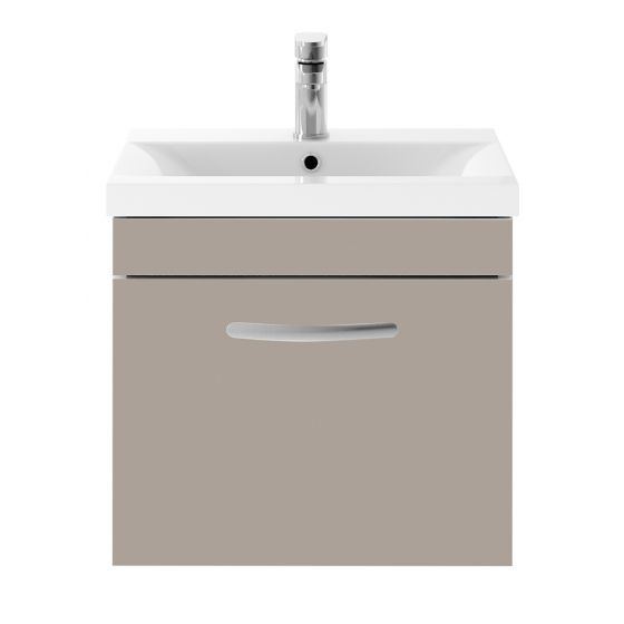 Nuie Athena 500mm Wall Hung Cabinet & Mid-Edge Basin - Stone Grey