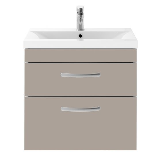 Nuie Athena 600mm 2 Drawer Wall Hung Cabinet & Mid-Edge Basin - Stone Grey