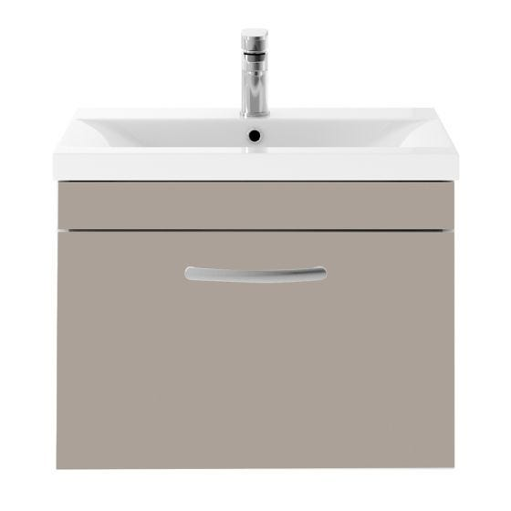 Nuie Athena 600mm Wall Hung Cabinet & Mid-Edge Basin - Stone Grey
