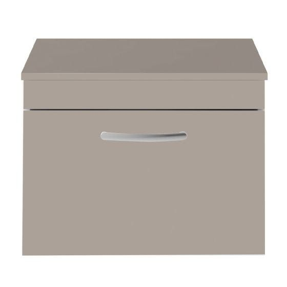 Nuie Athena 600mm Wall Hung Cabinet And Worktop - Stone Grey