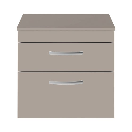 Nuie Athena 600mm 2 Drawer Wall Hung Cabinet & Worktop - Stone Grey