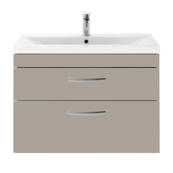 Nuie Athena 800mm 2 Drawer Wall Hung Cabinet & Mid-Edge Basin - Stone Grey