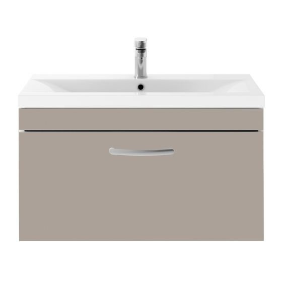 Nuie Athena 800mm Wall Hung Cabinet & Minimalist Basin - Stone Grey