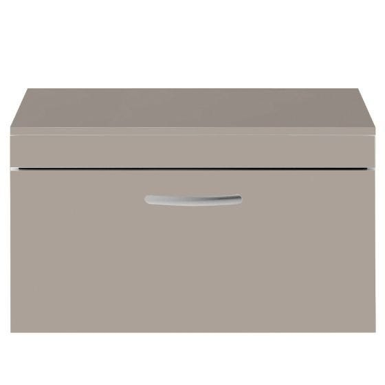 Nuie Athena 800mm Wall Hung Cabinet And Worktop - Stone Grey