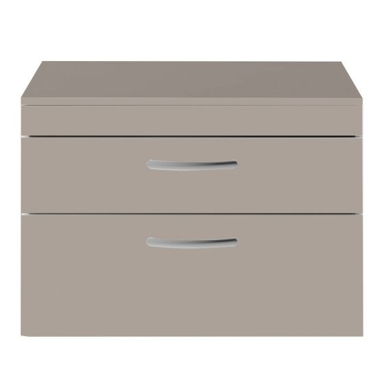 Nuie Athena 800mm 2 Drawer Wall Hung Cabinet & Worktop - Stone Grey