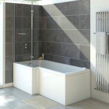 Standard L Shaped Bath Screen Silver / Clear