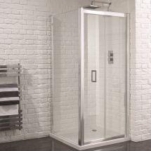Aquadart Venturi 6 760mm x 760mm Frameless Bifold Door Shower Enclosure and Shower Tray