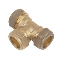 Brass Compression Equal Tee 22mm