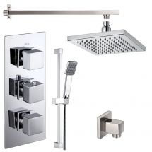 Cubex Triple Square Concealed Thermostatic Shower Valve with Outlet Elbow, Sliding Rail Kit, Wall Arm and Fixed Head