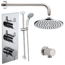 Electa Triple Round Concealed Thermostatic Shower Valve with Outlet Elbow, Sliding Rail Kit, Wall Arm and Fixed Head