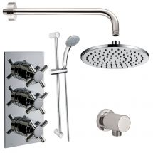 Krosse Triple Cross Top Concealed Thermostatic Shower Valve with Outlet Elbow, Sliding Rail Kit, Wall Arm and Fixed Head