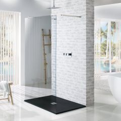 MX Minerals Jet Black Rectangular Slate Effect Slim Shower Trays (Multiple Sizes)