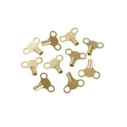 Dickie Dyer Brass Clock Type Radiator Keys Pack of 10