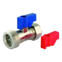 15mm Straight Compression Washing Machine Tap Valve with Check Valve